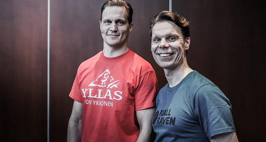 Antte Lauhamaa ja Jani Johansen ovat pitkän linjan telemark-vapaalaskijoita.
