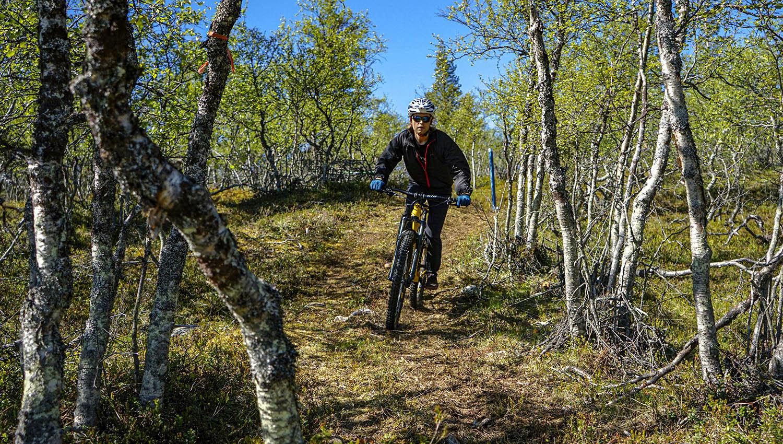 Bike park Saariselän reiteillä on pyritty hyödyntämään maaston luonnollisia muotoja.