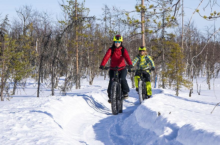 Ylläksellä on paljon pyöräiltävää myös talvella.