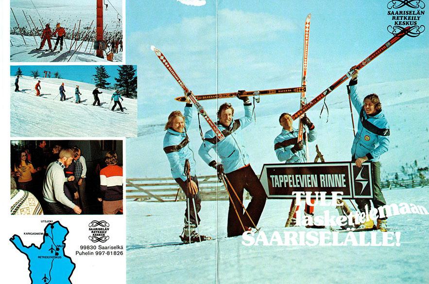 Saariselän kultakausi käynnistyi 1970-luvulla. Kuvan postikortti on kaudelta 1973–74.