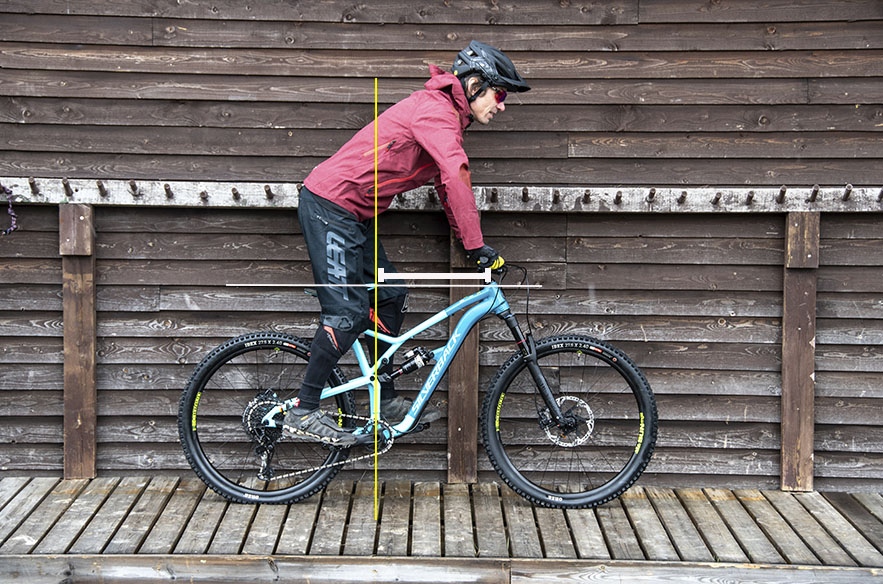 """Pyörän kokoa – ja etenkin """"ohjaamon"""" tilavuutta – kuvaa hyvin reach-mitta, joka on etäisyys keskiön pystylinjasta emäputken keskelle."""