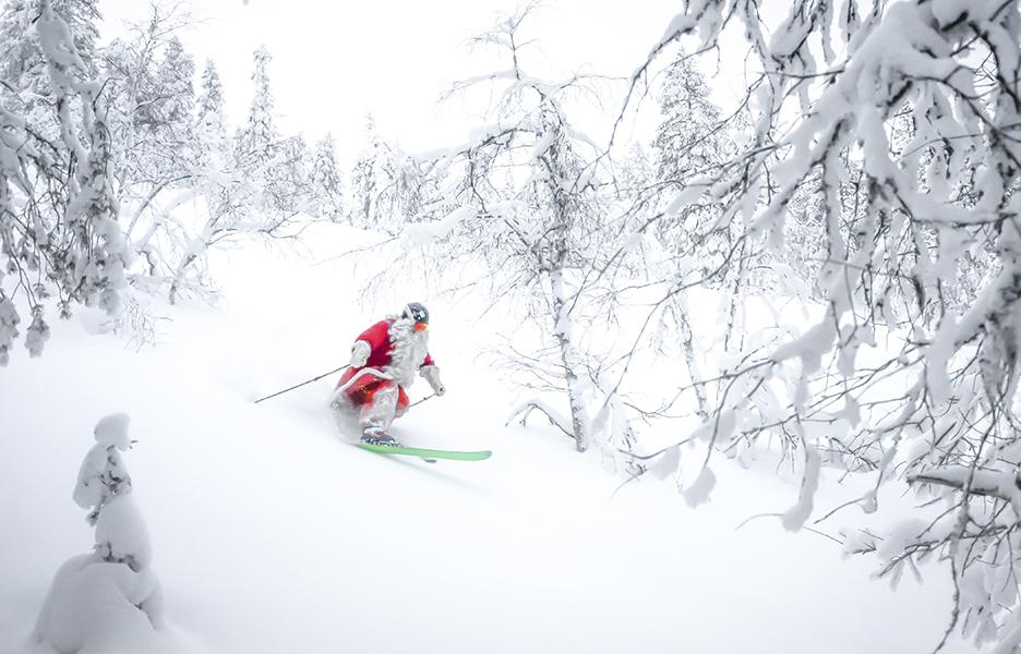 Joulupukki on yksi ensimmäisiä telemark-hiihtäjiä. Uskokoon ken haluaa.
